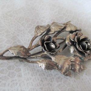 DANECRAFT signed vintage STERLING silver Rose pin